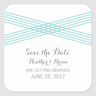 Turquoise Modern Deco Save the Date Stickers Square Sticker