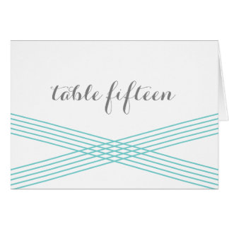 Turquoise Modern Deco Table Number Card Greeting Card