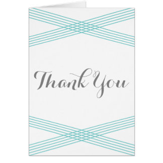 Turquoise Modern Deco Thank You Card Greeting Card