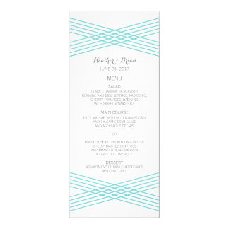 Turquoise Modern Deco Wedding Menu 4x9.25 Paper Invitation Card