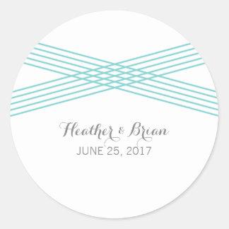 Turquoise Modern Deco Wedding Stickers Round Sticker