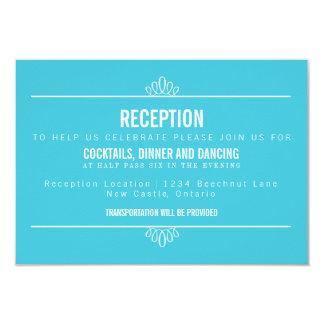Turquoise Modern Floral Wedding Reception Card 9 Cm X 13 Cm Invitation Card