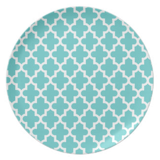Turquoise Modern Moroccan Pattern Dinner Plate