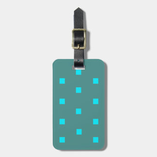 Turquoise modern squares luggage tag