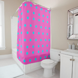Turquoise modern squares shower curtain