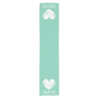 Turquoise monogram heart table runner for wedding