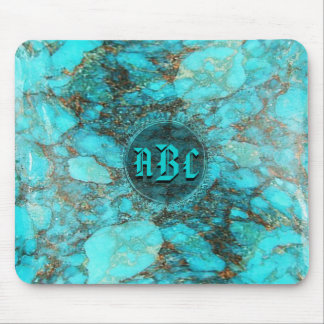 Turquoise Monogram Initials CustomizeABLEs Mouse Mat