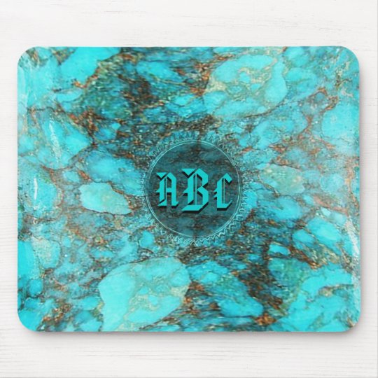 Turquoise Monogram Initials CustomizeABLEs Mouse Pad