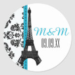 Turquoise Monogrammed Damask Eiffel Tower Wedding Round Sticker
