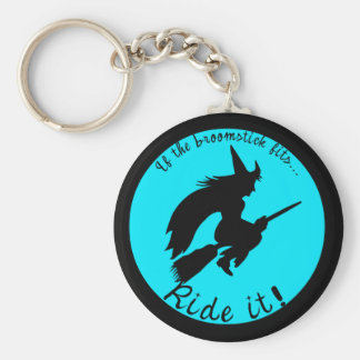 Turquoise Moon Witch Halloween Funny Keychain