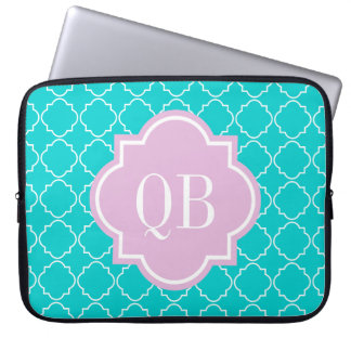 Turquoise moroccan lattice monogram laptop sleeve