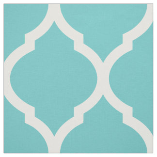 Turquoise Moroccan Quatrefoil Large Scale Fabric