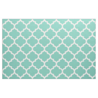 Turquoise Moroccan Quatrefoil Trellis Fabric