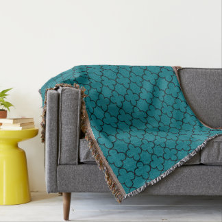 Turquoise moroccan trellis pattern throw blanket
