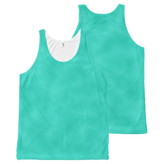 Turquoise Mottled Marbleized Swirls Clouds All-Over Print Tank Top