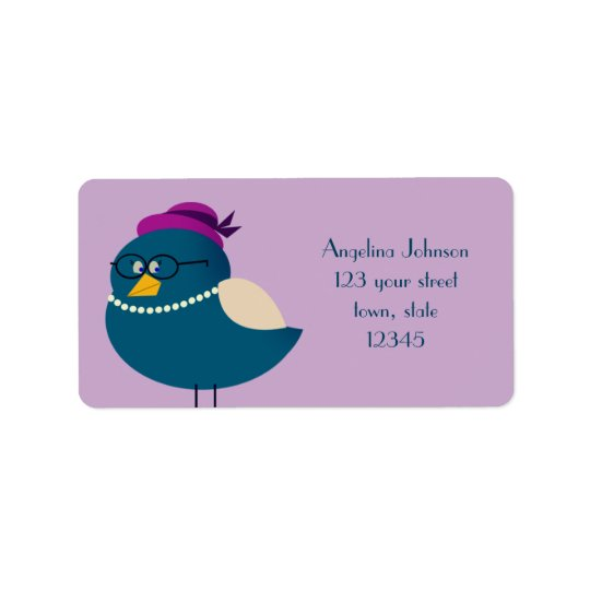 Turquoise Mrs Bird Cartoon Glasses Cute Funny Address