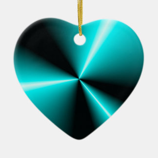 Turquoise 'N Black Contrasting Points 'N Cones Ceramic Heart Decoration