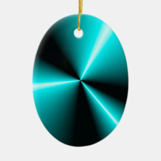 Turquoise 'N Black Contrasting Points 'N Cones Ceramic Oval Decoration