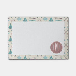 Turquoise Native Tipi Monogram Pattern Post-it® Notes