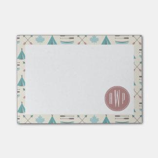 Turquoise Native Tipi Monogram Pattern Post-it® Notes