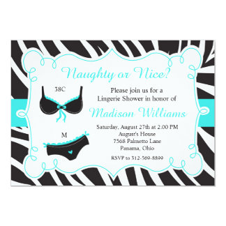Turquoise Naughty or Nice Lingerie Bridal Shower Card