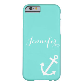 Turquoise Nautical Anchor Monogram Barely There iPhone 6 Case