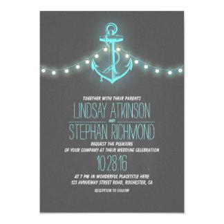turquoise nautical chalkboard anchor wedding 13 cm x 18 cm invitation card