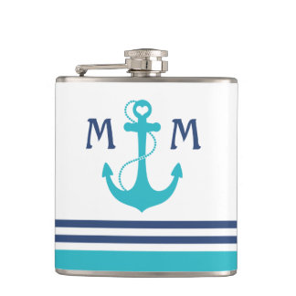 Turquoise Nautical Heart Anchor Hip Flask