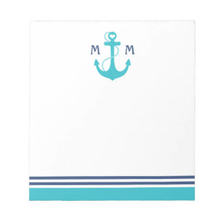 Turquoise Nautical Heart Anchor Notepad