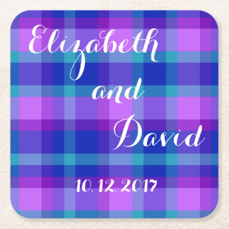 Turquoise Navy Blue Purple Lavender Plaid Wedding Square Paper Coaster