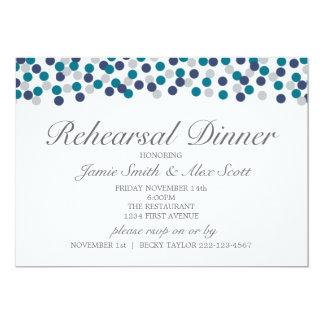 Turquoise Navy Grey Polka Dot Rehearsal Dinner Card