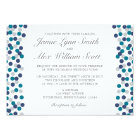 Turquoise Navy Grey Polka Dot Wedding Invitation