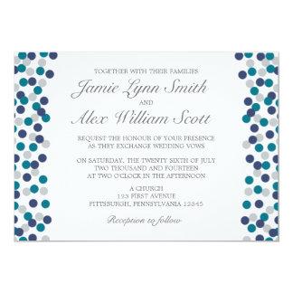 Turquoise Navy Grey Polka Dot Wedding Invitation