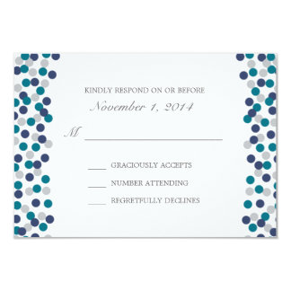 Turquoise Navy Grey Polka Dot Wedding Response Card