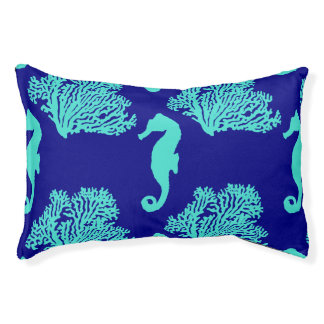 Turquoise Navy Seahorse Coastal Pattern Pet Bed