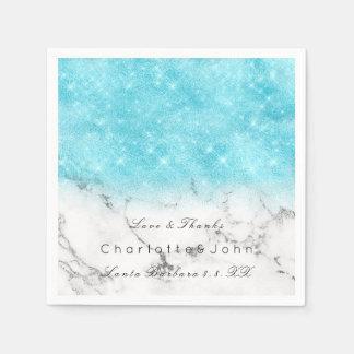 Turquoise Ocean Glitter Marble White Bridal Girly Paper Serviettes