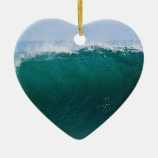 Turquoise Ocean Wave Ceramic Heart Decoration