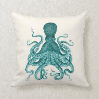 Turquoise Octopus Illustration on Cream Cushion