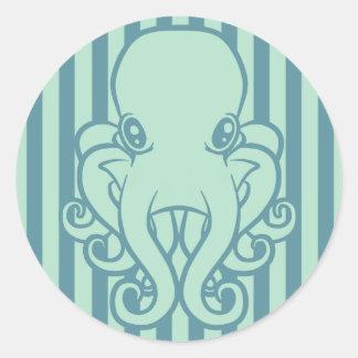 Turquoise Octopus Round Sticker