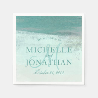 Turquoise Ombre Watercolor Wash Beach Wedding Paper Napkin