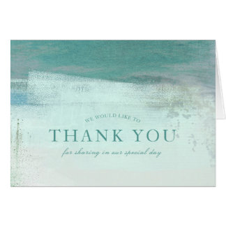 Turquoise Ombre Watercolor Wash Thank You Card