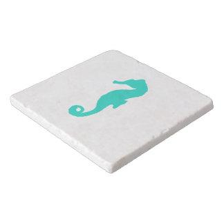 Turquoise On White Coastal Decor Seahorse Trivet