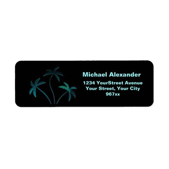 Turquoise Opal Palm Trees on Black Return Address Label