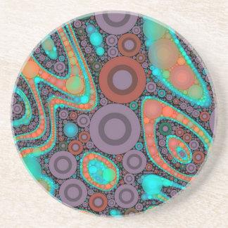 Turquoise Orange Circle Abstract Coaster