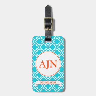 Turquoise Orange Monogram Luggage Tag