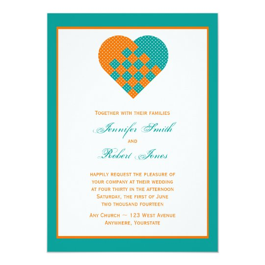 Turquoise Orange Ribbon Heart Wedding Invitation