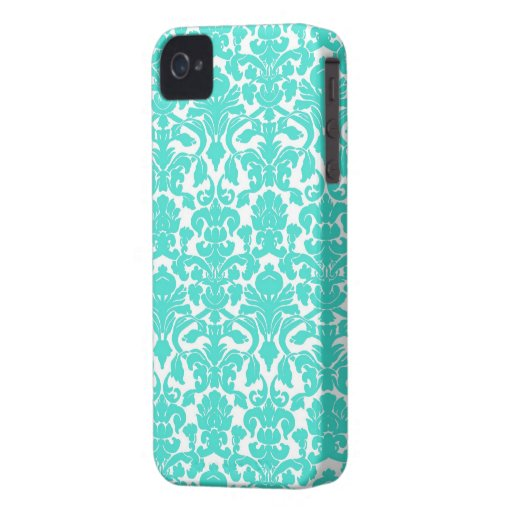Turquoise Ornate Floral Damask Pattern iPhone 4 Case-Mate Case