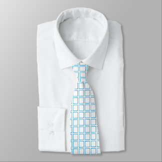 Turquoise Outlined Squares Tie