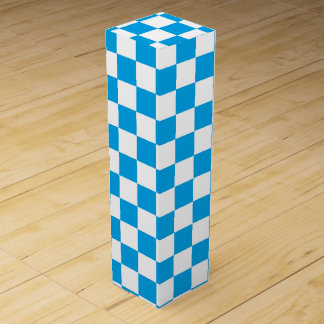 Turquoise Outlined Squares Wine Bottle Boxes