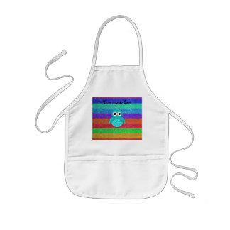 Turquoise owl rainbow glitter kids apron